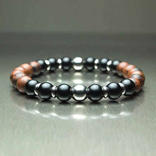 Taille 19-20cm Sublime BRACELET Homme/Femme Perles pierre naturelle Mahogany Obsidian marron 8mm + Agate noir mat (Onyx) + anneaux Acier inoxydable/inox BRACAJUTAN-18