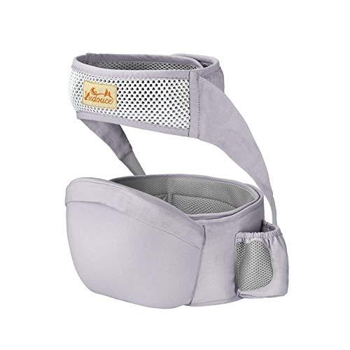Viedouce Hipseat Marsupio con protezione per cintura di sicurezza,Puro Cotone Leggero e Traspirante,Ergonomico Neonati Marsupio Sicurezza Supporto per Bambino da 6-36 Mesi (Grigio)