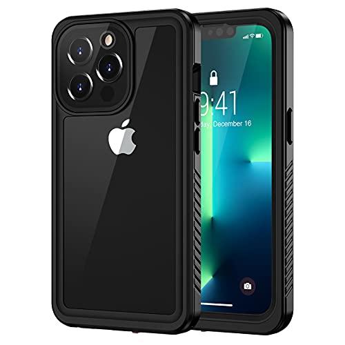 Lanhiem Coque iPhone 13 Pro Étanche, [IP68 Imperméable+Antichoc] 360 Indestructible Integral Renforcée Antipoussière Anti-Neige Resistante Waterproof Etui Protection pour iPhone 13 Pro (6.1 ), Noir