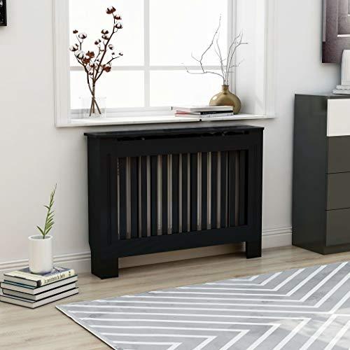 UnfadeMemory Cubierta de Radiador,Mueble para Radiador,Cubierta de Calefacción,MDF (Negro,Diseño Vertical, 112x19x81cm)
