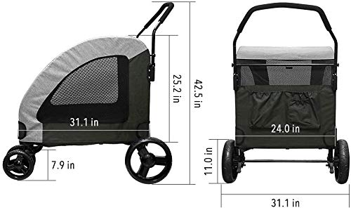 Dog Stroller For Large Pet Jogger Stroller For 2 Dogs Breathable Animal Stroller With 4 Wheel And Storage Space Pet Can Easily Walk In/Out Travel Up To 120 Lbs(55kg) 5