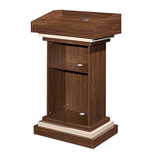 Podio de presentación Púlpitos de iglesias, mesa de lectura de atril profesional con estante de almacenamiento abierto y canal de alambre, púlpito de conferencias, mostrador de recepción de madera