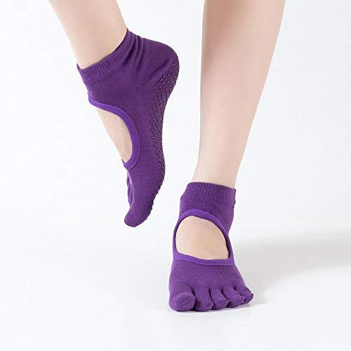 JKCTOPHOME Yoga Calcetines Pilates,Manguera de Yoga Antideslizante de Color Caramelo de Primavera y otoño-Purple_Code,Calcetines Deportivos Antideslizantes