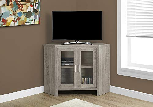"Monarch Specialties I Corner with Glass Doors TV Stand, 42"", Dark Taupe"