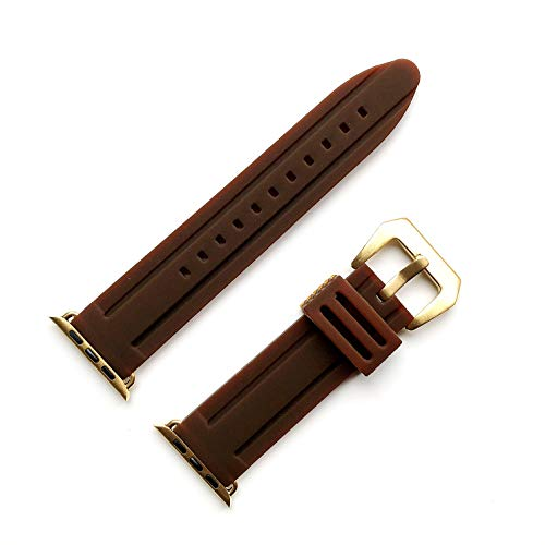NICKSTON Gold Finish Reinforced with Wide Buckle (BRMD-GLD) Luxury Modern Sports Rubber Strap Band Quick Release Compatible with Apple 44mm Watch 1 2 3 4 5 Series - Brown Color Band