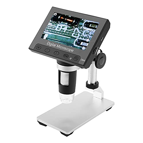 Jeanoko 500/1000X Magnifier Electronic Microscope 2MP Microscope DM4 Digital Electronic for Industrial PCB Checking(Aluminum Alloy Bracket)