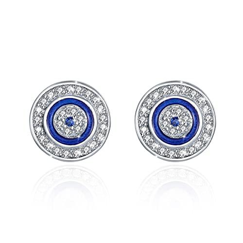 Pendientes redondos de ojo malvado azul plata de ley 925 azul blanco zirconia cúbica con esmalte (aojo-redondo)