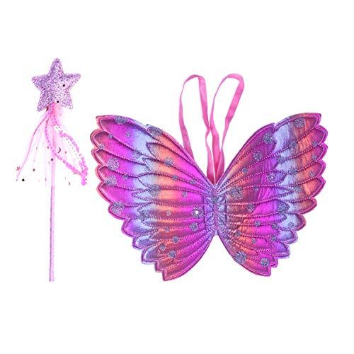 NUOBESTY - Juego de 2 piezas de disfraz de alas de mariposa, varita mgica, para cumpleaos, vacaciones, cosplay medium Imagen 2