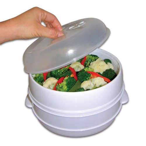 Handy Gourmet White 2 Tier Microwave Steamer