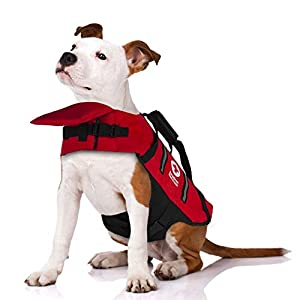 Penn-Plax Officially Licensed American Red Cross Safety Life Jacket and Flotation Device for Dogs – Red Color with Reflective Strips – Small Size