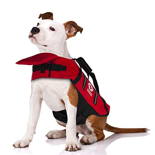 Penn-Plax Officially Licensed American Red Cross Safety Life Jacket and Flotation Device for Dogs – Red Color with Reflective Strips – Large Size