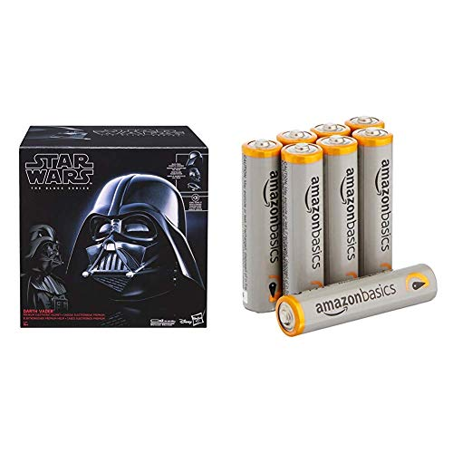 Hasbro E0328EU4 - Star Wars The Black Series Replica Darth Vader Helm & AmazonBasics Performance Batterien Alkali, AAA, 8 Stück (Design kann von Darstellung abweichen)