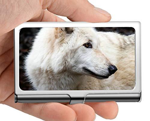 Professional Business Card Holder Stainless Steel,Wildlife Predator Winter Animal Forest Wolf Business Card Holder Wallet Credit Card ID Case