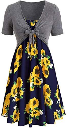 Trajes de vestir 2 piezas superior+vestido - Última moda mujeres manga corta lazo nudo vendaje girasol impresión elegante sexy