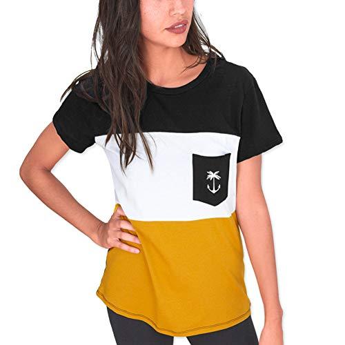 VIENTO Patch Pocket Tropical Anchor Damen T-Shirt (Schwarz, M)