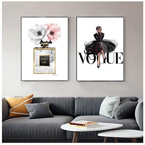 GUOCHEN Pintura de Lienzo, Lienzo de Vestido Negro de Moda, Arte de Pared nórdico, Perfume, Estampado de...