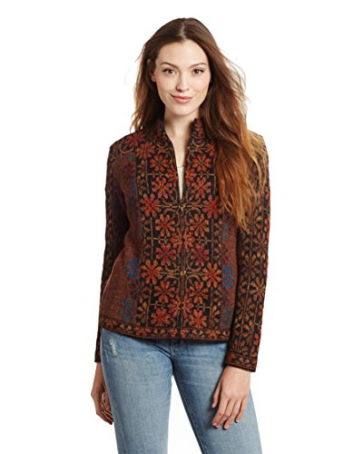 Invisible World Damen 100% Alpaka Strickjacke – Rundhals Cardigan mit Reißverschluss Ophelia L