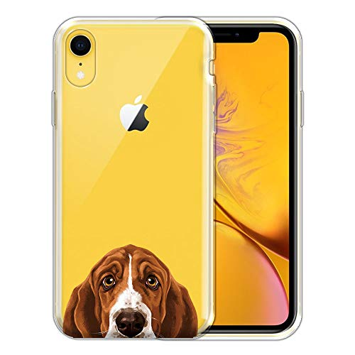 FINCIBO Case Compatible with Apple iPhone XR 6.1 inch, Clear Transparent TPU Silicone Protector Case Cover Soft Gel Skin for iPhone XR - Sad Eyes Basset Hound Dog