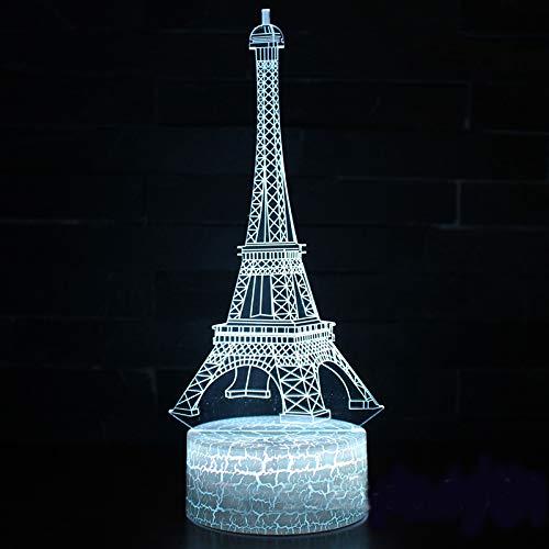 Eiffeltoren Hema nachtlampje kinderen nachtlampje 3D optische 7 kleuren selecteerbaar dimbare touch schakelaar nachtlampje verjaardagscadeau