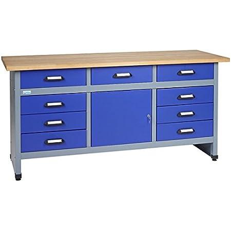 Küpper-Banco de trabajo, modelo 12877, ancho de 170cm, color azul ultramar