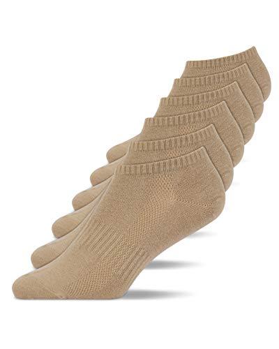 Snocks Sneaker Socken Herren & Damen (6x Paar) Füßlinge (39-42, 6x Beige)
