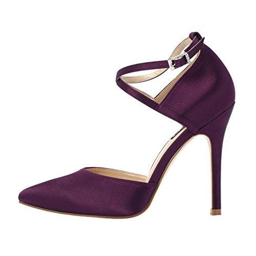 ERIJUNOR E2264 Women High Heel Ankle Strap Satin Dress Pumps Evening Prom Wedding Shoes Plum Size 9