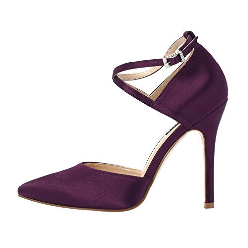 ERIJUNOR E2264 Women High Heel Ankle Strap Satin Dress Pumps Evening Prom Wedding Shoes Plum Size 9