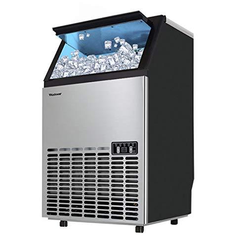 Lxn Máquina comercial de hielo independiente, 120 lbs. Hielo en 24 horas, con capacidad de almacenamiento de 33 lbs. Ideal para restaurantes, bares, casas y oficinas