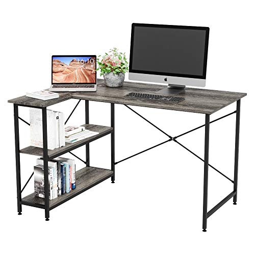 Bestier Small L-Shaped Desk with Storage Shelves 47 Inch Corner Desk with Shelves Writing Desk Table with Storage Tower Shelf Home Office Desk for Small Spaces P2 Wood Easy Assemble (Grey, 47 Inch)