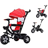 Triciclo Evolutivo Bebé 3 En 1 Bicicleta para Niños Niños con Asa Y Techo, para Niños/Niñas De 1 A 6 Años, Rojo