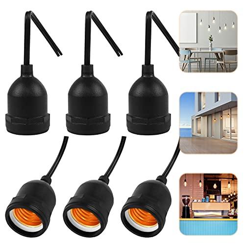 6 Piezas Portalámpara E27 Portalámpara Impermeable para Luz Cable Vintage Portalámpara Negro Soportar Temperaturas 150 °,Portalámpara Adaptador de Bombillas E27 para Iluminación en Exterior e Interior
