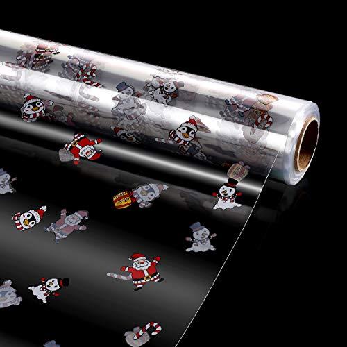 STOBOK Klares Cellophan Rolle,Entfaltete Breite 80CM x 30M Transparente Geschenkpapier Weihnachten Muster,3.0 Mil Dicke Folienrolle zum Einwickeln von Geschenkkörben,Transparentpapier Geschenkfolie