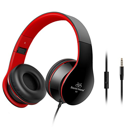 Junwer Lightweight Folding 3.5mm Stereo Over-Ear Portable Stretch Headsets with Build-in Microphone, Black/red BC33169