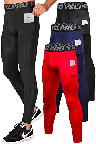 Lavento Men's Compression Pants Running Tights Leggings with Phone Pockets (3 Pack-3911 Black/Navy Blue/Red,Medium)