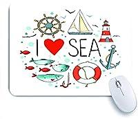 Mabby マウスパッド,I Love Sea Quote with Heart Figure Sea Materials Anchor Compass Knotted Rope,ラップトップコンピュータPCオフィス用の滑り止めラバーベースマウスパッド