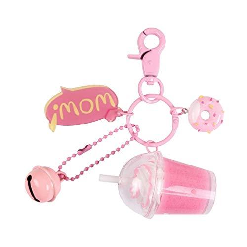 FENICAL Cartoon Key Chain Rings Pearl Milk Tea Keychains Handbag Purse Pendant Decor