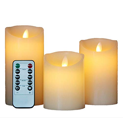 YXDS Led Candles, Flameless Candles, Real Wax Candle, Pillar Candle, Remote Control With 10 Buttons For Home