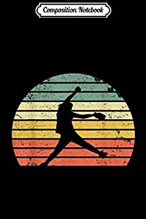 Composition Notebook: Vintage Softball Girl Pitching Silhouette Retro Sunset Journal/Notebook Blank Lined Ruled 6x9 100 Pages