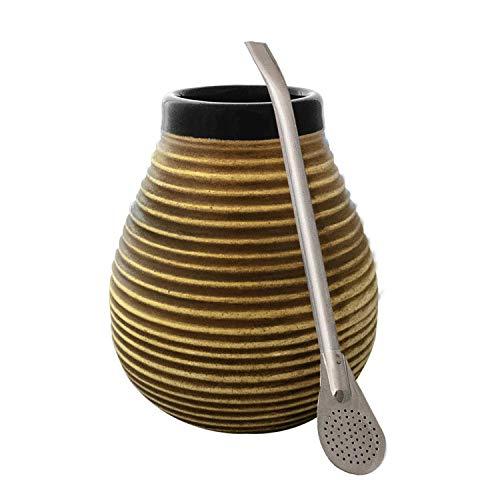 Mate Tee Becher Keramik Honig-Bienenstock + Bombilla Edelstahl Set