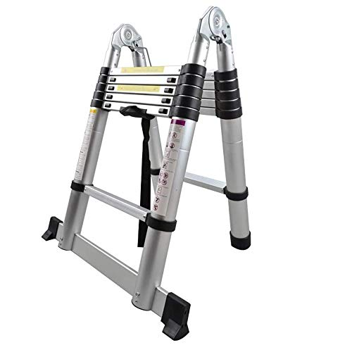 azorex Escalera Telescópica Plegable 3.2m de Aluminio Antideslizante Extensible Multifunción Carga Máxima 150 kg (Plegable 1.6m+1.6m)