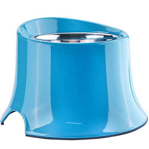 Super Design Elevated Dog Bowl Raised Dog Feeder for Food and Water 2.5 Cup Blue
