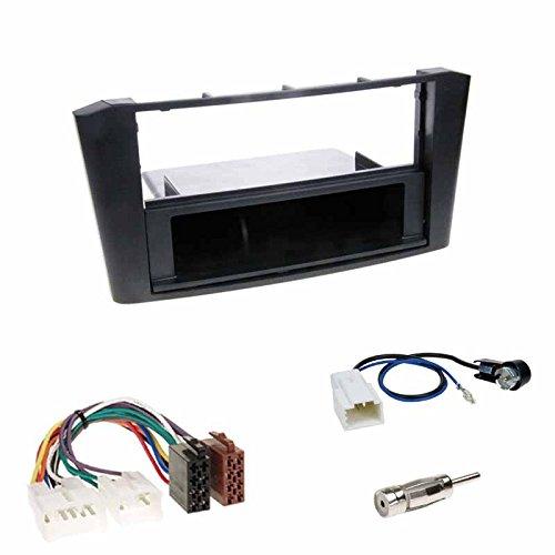 Einbauset : Autoradio Doppel-DIN 2-DIN Blende Einbaurahmen Radioblende + Fach schwarz + ISO Radio Adapter Radioadapter Radioanschlusskabel + Antennenadapter für Toyota Avensis (Typ T25) 02/2003-2009