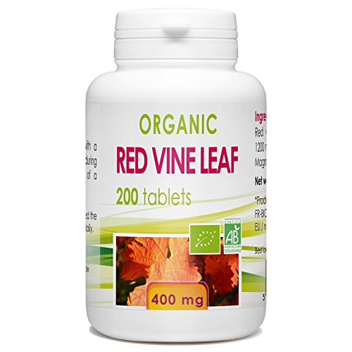Organic Red Vine Leaves - 200 tablets 400 mg