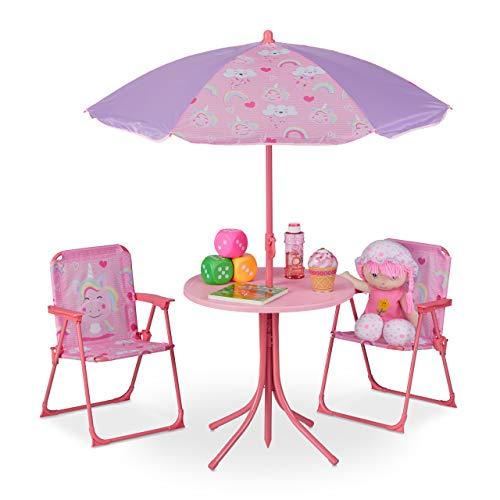 Relaxdays Camping Kindersitzgruppe, Kindersitzgarnitur m. Sonnenschirm, Klappstühle & Tisch, Einhorn Motiv, Garten, pink