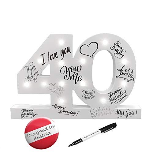 CREOFANT ® XL Gästebuch 40 Geburtstag Deko mit LED Beleuchtung 37 cm x 24 cm · Tischdeko...