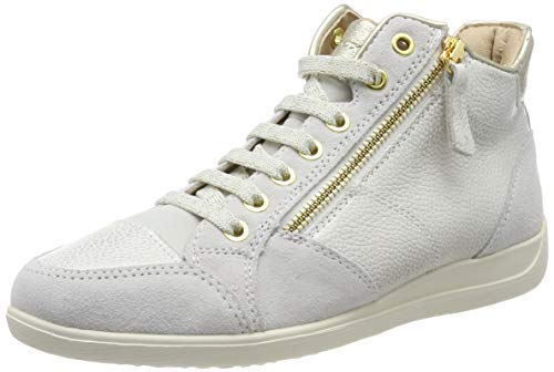 Geox Women's D MYRIA C Mid top Sneakers, Beige (ChampagneOff White Cb51q) 4 UK