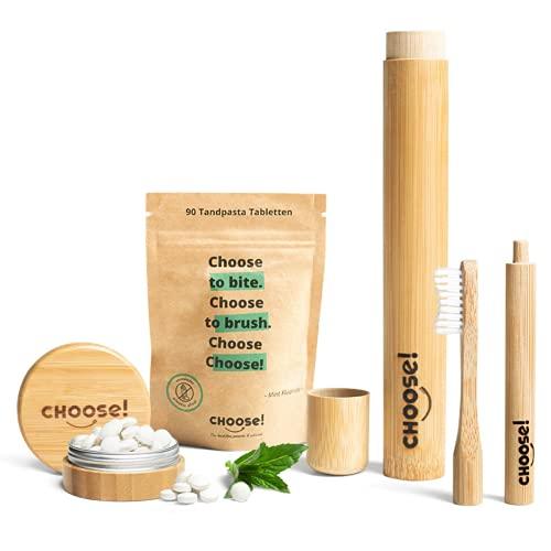 CHOOSE Box Complete - Zahnputztabletten, Bambus Zahnbürste, Zahnbürstenetui & Aufbewahrungsbox