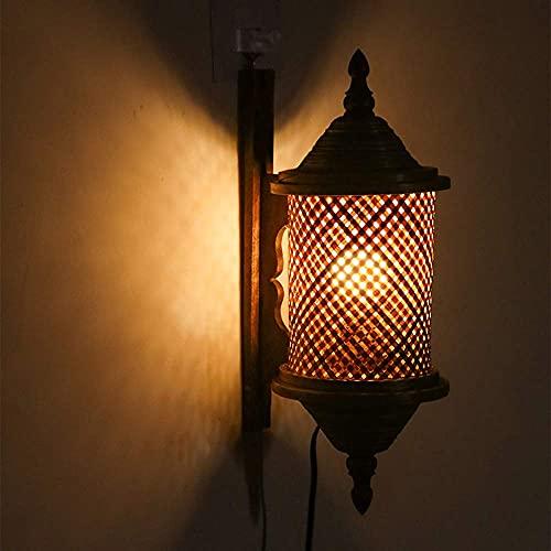 Lámpara de pared, lámpara de pared de madera de bambú, lámpara de...