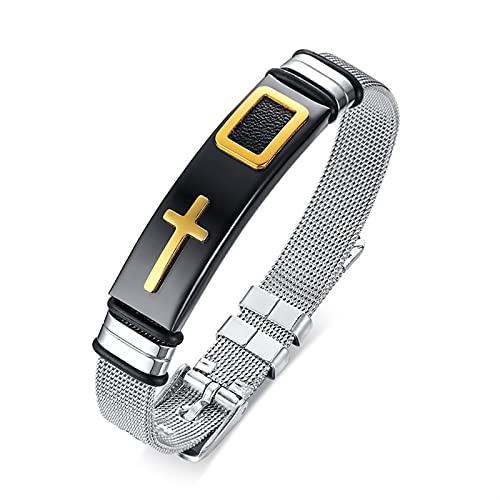 LSTGJ Set De Pulseras De Correa para Mujer De Acero Inoxidable Neta Reloj De Reloj Masculino Femenino Talla Unisex Ajustable (Metal Color : 1 pcs Black Gold)