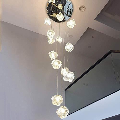 Colgante Luz De Cristal Chandelier Moderno Luz Colgante para Dormitorio Salón Y Comedor Escalera Hallway Bar 15 Light W 23.6'X H 98.4'(Size:15Lights60x250cm)